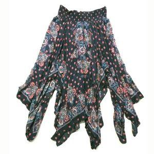 Free People handkerchief hem boho midi skirt